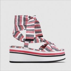 Zara striped lace up platform sandals. NWT